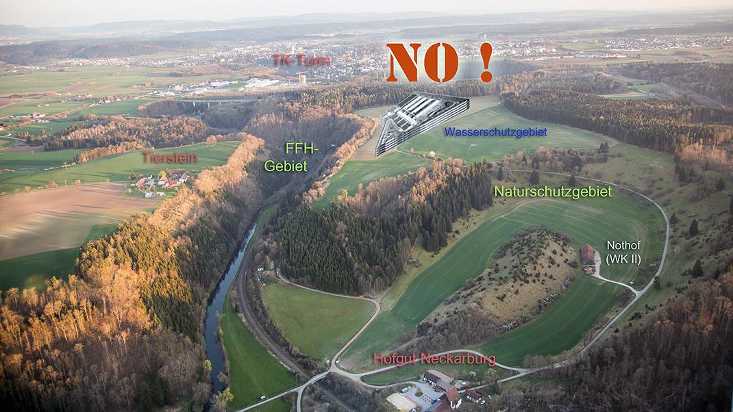 Die Bürgerinitiative Neckarburg ohne Gefängnis sagt Nein zum Standort Esch. Bild: BI Neckarburg ohne Gefängnis