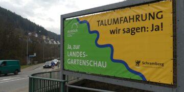 Werbung für die Talumfahrung in Schramberg. Archiv-Foto: him