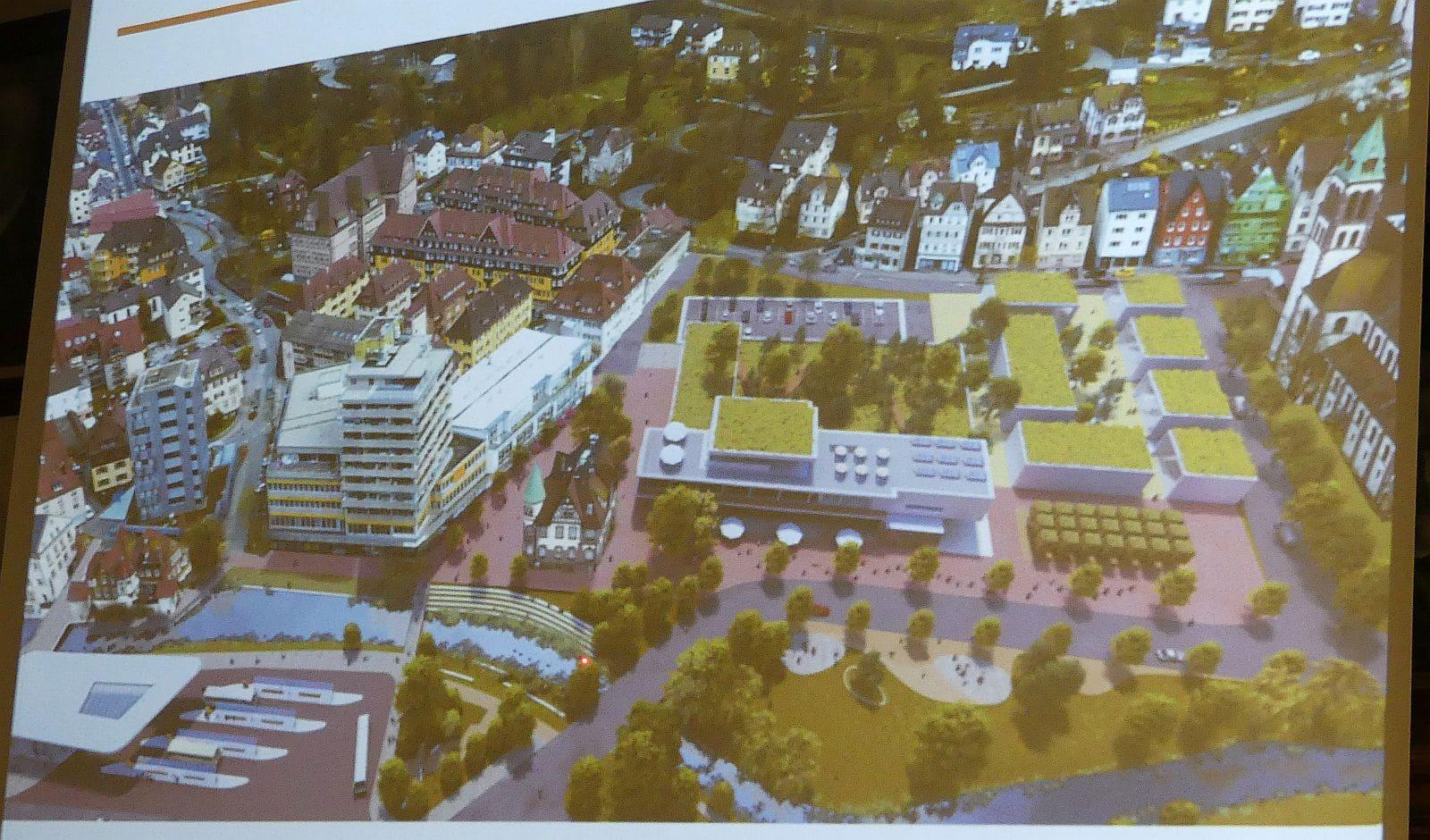 So könnte der Bereich beim Cityhochhaus und auf dem Schweizer-Parkplatz in (ferner) Zukunft einmal aussehen. Foto: him