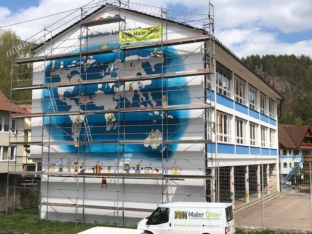"""Weltkartebild"" an der Lauterbacher Schule. Foto: sr"