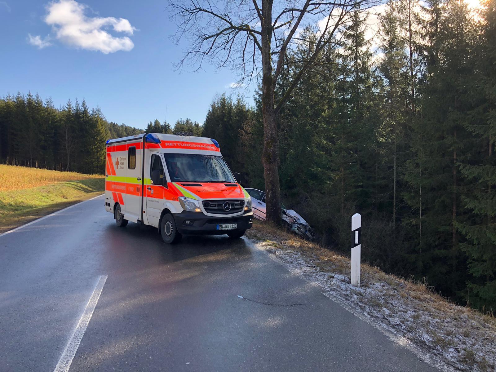 Unfall auf der Kreisstraße zwischen Horgen und Flözlingen. Foto: Sven Maurer