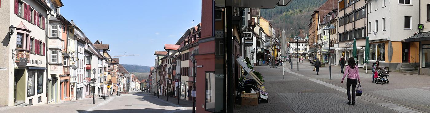 Die Innenstädte von Rottweil (links) und Schramberg in Zeiten von Corona. Bald sollen sie belebter sein. Denn ab kommender Woche können die Einzelhandelsgeschäfte wieder öffnen. Fotos: wede, him