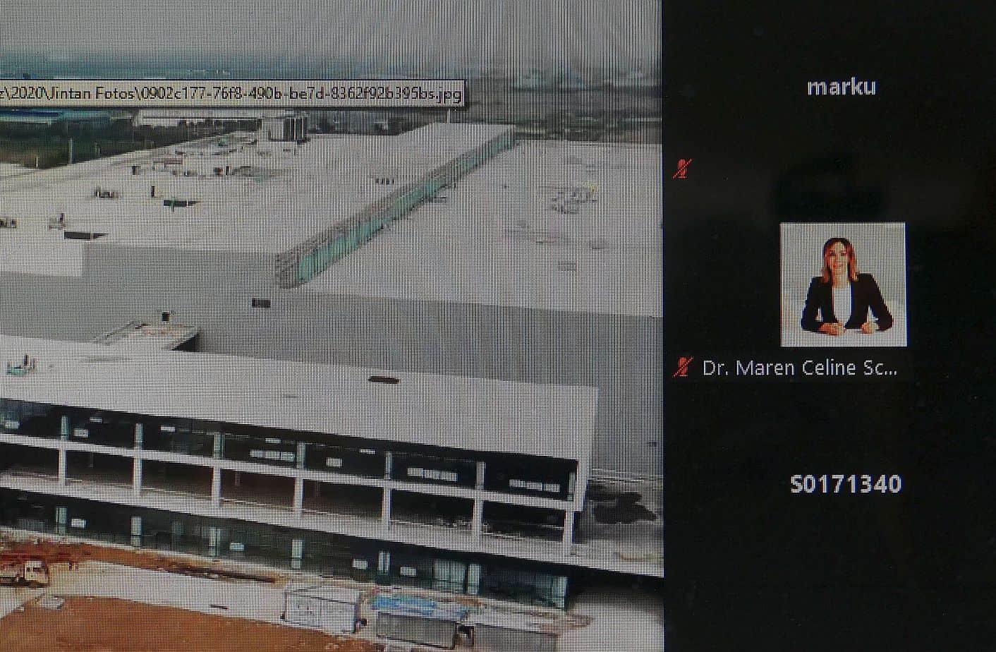 Der Neubau in China interessiert offenbar auch Dr. Maren Schweizer. Kürzlich stellte die Firmenleitung das Projekt bei einer Videokonferenz vor. Screenshot: him