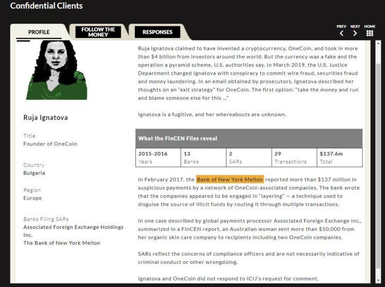 File zu Ruja Ignatova von ICIJ Homepage. Screenshot. him