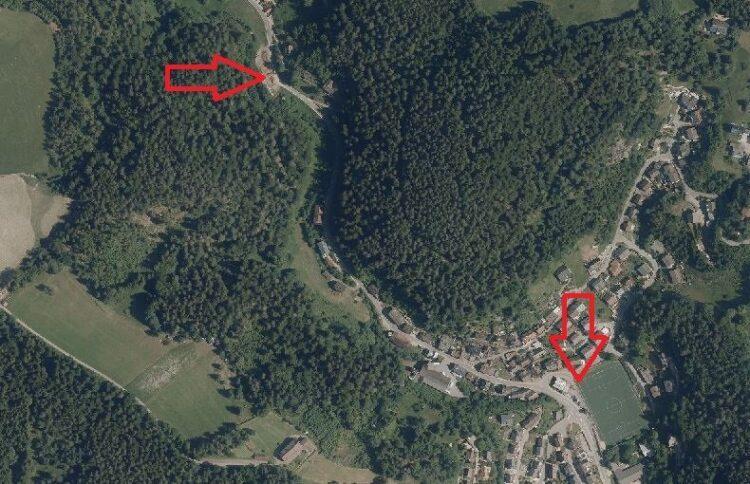Die Kreisstraße  von Lauterbach nach Sulzbach muss zwischen Sportplatz und Bauhoflager Hölzle ausgebaut werden. Foto: geoportal bw
