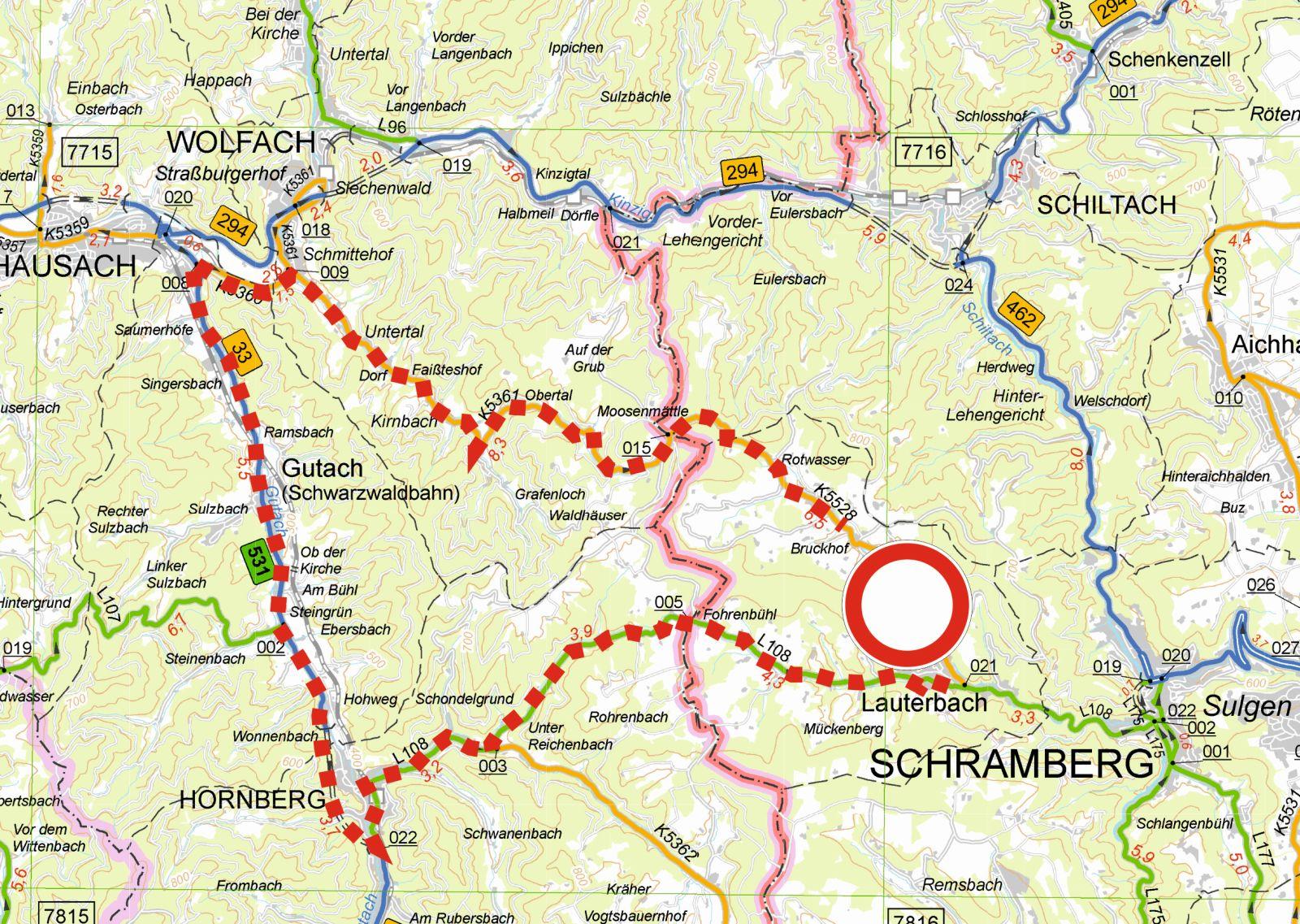 So sollen die Auto- und LKW-Fahrer von Lauterbach ins Sulzbachal gelangen. Plan: Straßenbauamt Rottweil