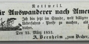 Werbung für Überfahrten in die USA aus dem Jahr 1853. Etliche Aus Rottweil und Umgebung folgten dem Ruf. Vorlage: Stadtarchiv Rottweil