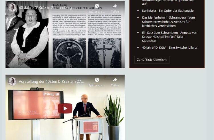 Homepage des Vereins mit den Videos. Screenshot: him
