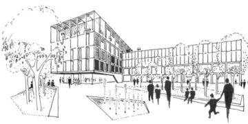Entwurf des Architekturbüros: An den Platz von Hochhaus und Rundbau kommt eine langgestrecktes fünfstöckiges Verwaltungsgebäude (links). Das vorhandene Gebäude wird aufgestockt. Grafik: A+R