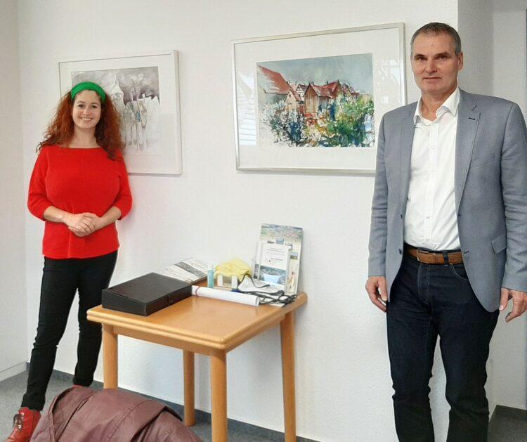 BU: Die Landtagskandidatin Sonja Rajsp besuchte Dornhans Bürgermeister Markus Huber.  Foto: pm