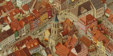 Zählt zu den Prunkstücken in der Kunstsammlung des Landkreises: Die fantasievolle Auseinandersetzung von Norbert Stockhus mit Rottweil (Ausschnitt). Foto: pm