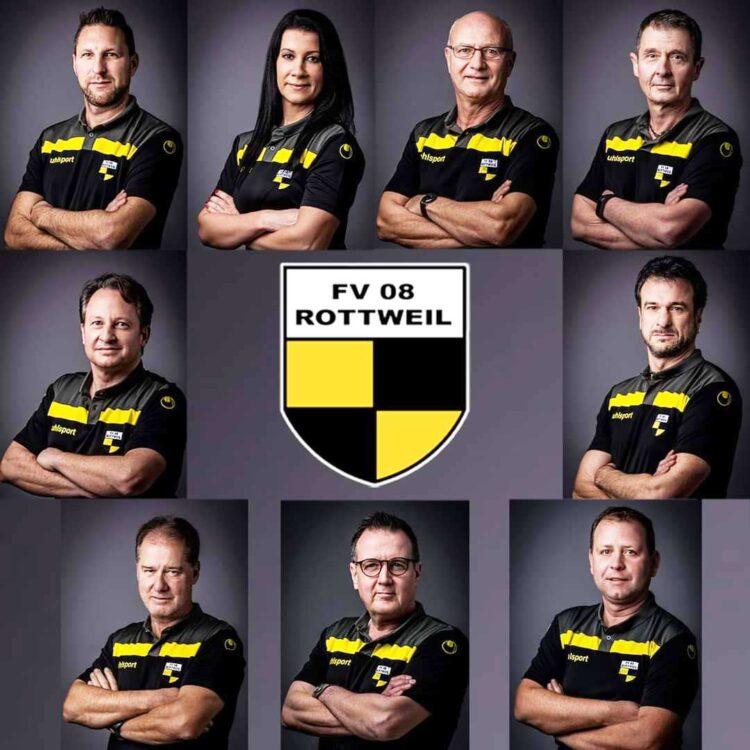 Funktionäre des FV 08 mit dem geschäftsführenden Vorstand (oben. von links): Peter Weiss, Anja Faras und Ernst Müller. Foto: FV 08