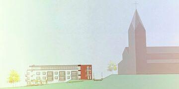 Das Neubauprojekt soll in Nachbarschaft der Pelagius-Kirche entstehen. Grafik: Stadt Rottweil