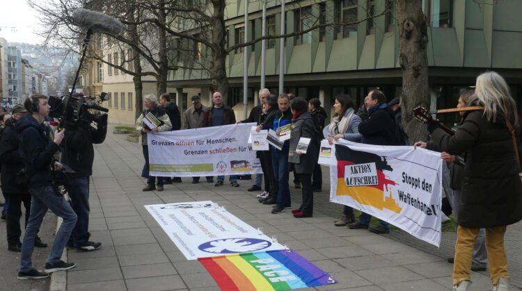 Protestaktion vor der Urteilsverkündung in Stuttgart. Archiv-Foto: him