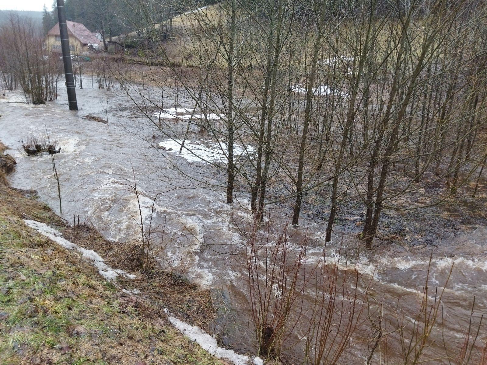 Hochwasser in Tennenbronn Anfang Februar 2021. Foto Robert Hermann
