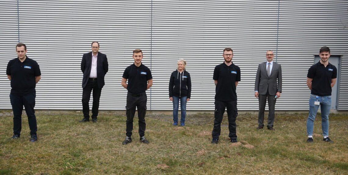 Nico Armbruster, Jens Budig, Johannes Kipp, Olga Kulmann, Lukas Bihlmaier, Stefan Tschugmell, Jonathan König(von links). Foto: pm