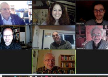 """Bildschirmfoto von der Video-Konferenz """"Buntspecht trifft Sonja Rajsp"""". Foto: pm"""