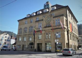 Die Fahnen von Belgien, Frankreich, der Schweiz und Kroatien wehen am Rathaus. Fotos: him