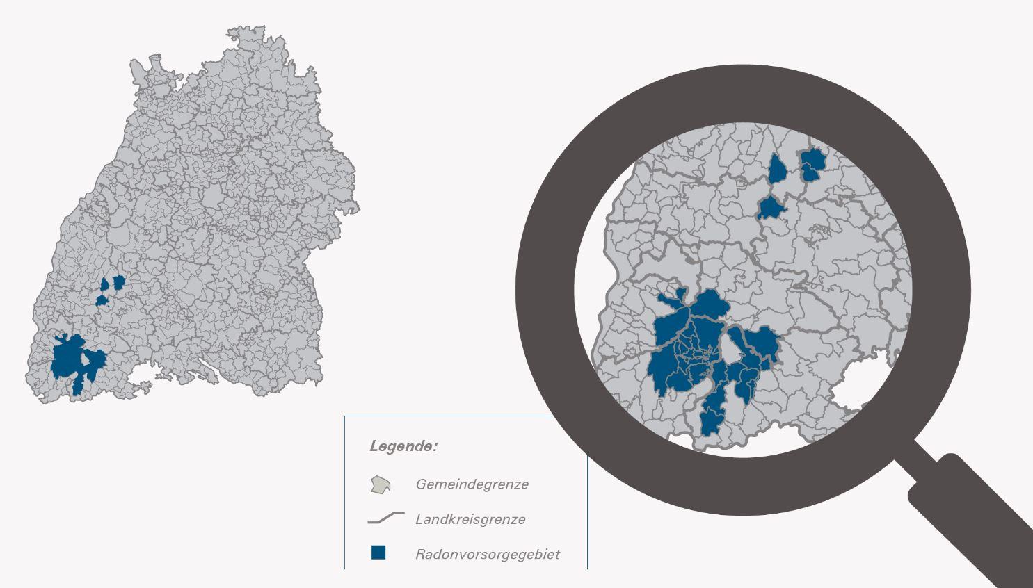 Die Radon-Vorsorgegebiete, wie sie das Landesumweltministerium  (UM) vorgeschlagen hat. Grafik: UM