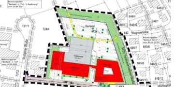 Das für die ENRW vorgesehene Gelände in Neufra. Die gelb gestrichelte Linie zeigt, wo bisher ein Wohngebiet vorgesehen war. Die grün eingezeichnete Fläche ist der Wall, der die Anlieger schützen soll. Rot sind die Gebäude eingezeichnet, rechts das zwölf Meter hohe Verwaltungsgebäude. Grafik: Stadt Rottweil