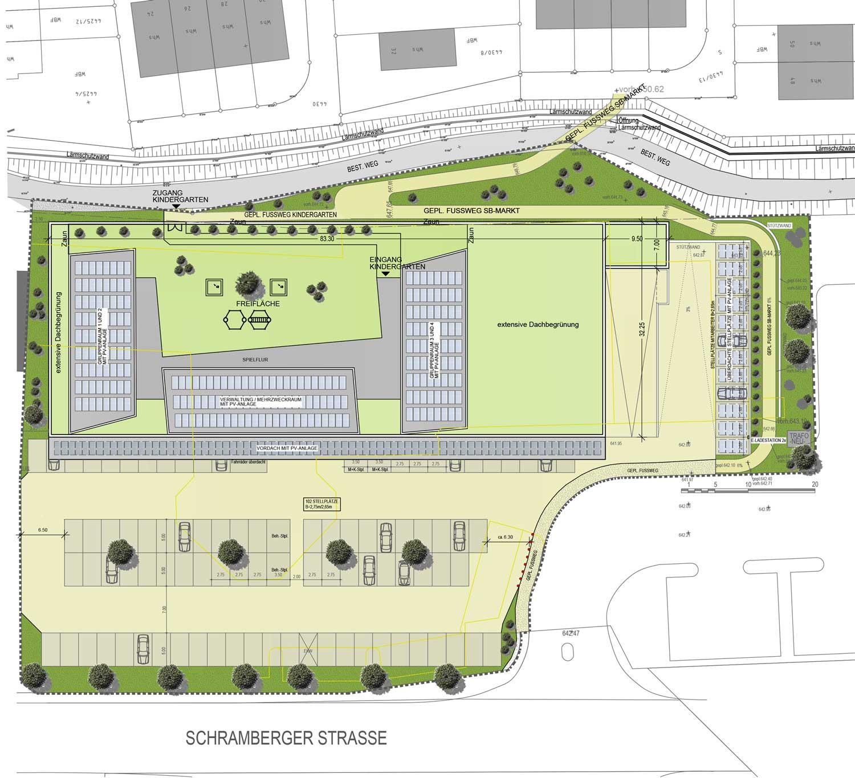 Die Planung sieht vor, das Gebäude auf dem der Charlottenhöhe zugewandten Seite des Grundstücks zu bauen. Ein Weg soll von der Belchenstraße zu Kindergarten und Supermarkt führen. Grafik: Schairer + Partner Architekten