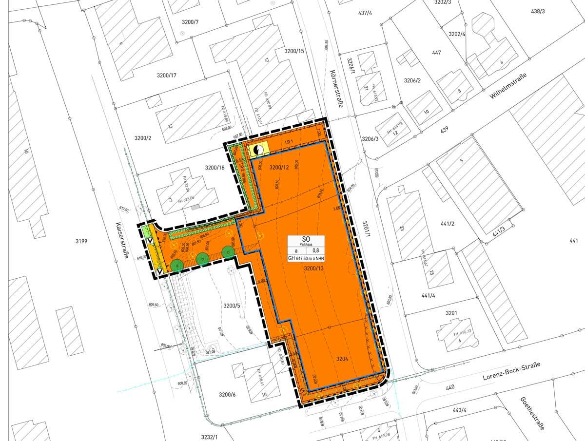 """Die Lage des künftigen Parkhauses """"Zentrum"""". Grafik: Gfrörer Ingenieure"""