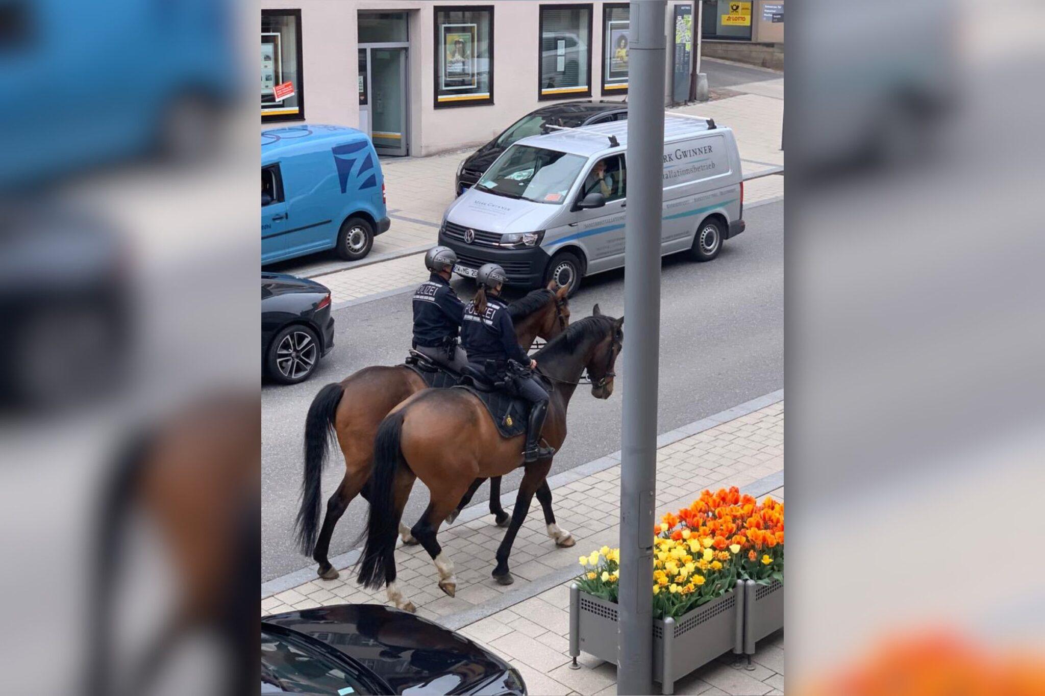 Berittene Polizisten in Rottweil. Foto: privat