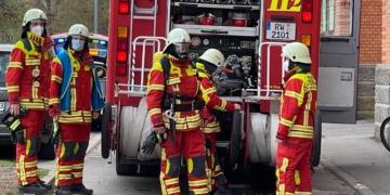 Einsatzkräfte der Feuerwehr Rottweil. Foto: gg