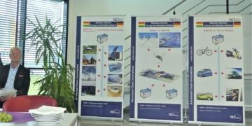 Vorstellung des deutsch-bolivianischen Lithiumprojektes durch Wolfgang Schmutz (inks) im Mai 2019. Foto: him