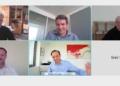 Videokonferenz  mit Presse zum Impfen in Betrieben. Oben Mitte Hagen Zimer, unten  Matthias Aust und Nicolas Schweizer. Dr. Erek Speckerts Kamera hat nicht funktioniert....Screenshot: him