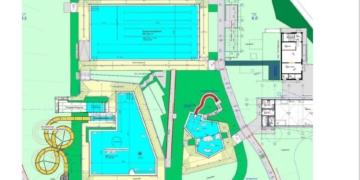 Der Aufwärmpavillon ist auf dieser Grafik noch auf der Ostseite (rechts) eingezeichnet, er soll auf die Westseite verlegt werden. Grafik: Stadt