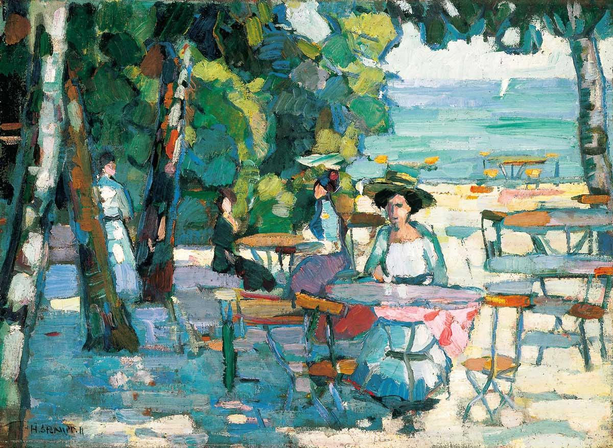 Hermann Stenner: Kaffeegarten am Ammersee, 1911, Öl auf Leinwand, 51,5 x 69 cm, Sammlung Bunte.
