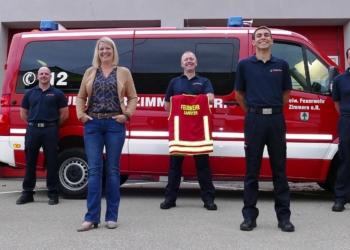 Freuen sich (von links): Achim Rieß, Frank Scherfer, Bürgermeisterin Carmen Merz, Sebastian Patzelt, Marco Mager und Patrick Bühl. Foto: pm