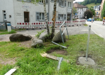 Spur der Verwüstung an der Geißhaldenstraße. Fotos: him