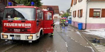 Feuerwehreinsatz nach Starkregen in Deißlingen. Foto: Blaulichtreport Rottweil