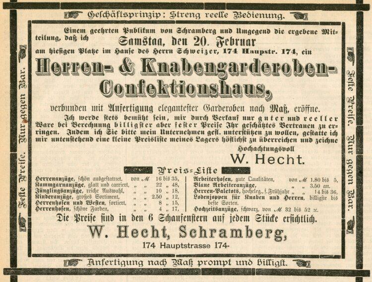 """Werbung zur Geschäftseröffnung des jüdischen Kaufmanns Wolf Hecht im """"Schramberger Anzeiger"""" am 16. Februar 1897  Foto: Stadtarchiv Schramberg"""