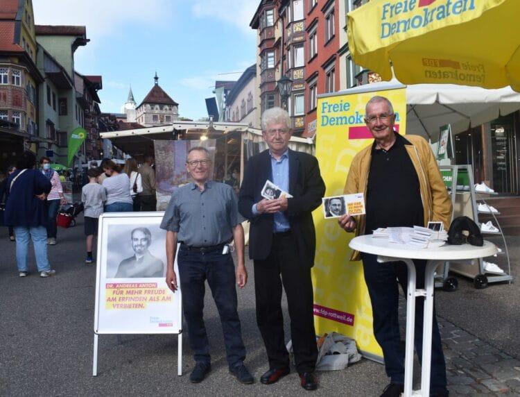 Von links: Josef Rack, Dieter Kleinmann und Ernst Burgbacher. Foto: FDP