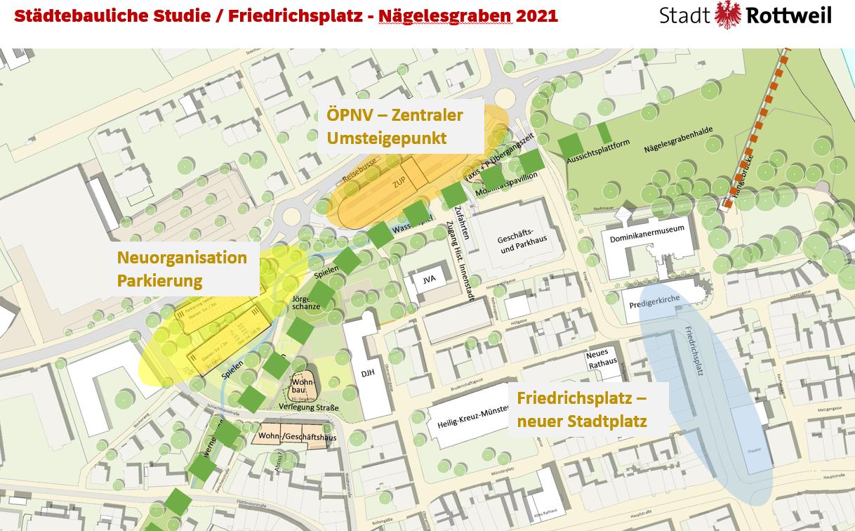 Die Grafik zeigt die Planungsschwerpunkte Friedrichsplatz sowie ZUP und geplantes Parkierungsgebäude am Nägelesgraben. Ziel ist eine Aufwertung und Verkehrsentlastung der historischen Innenstadt (Grafik: Stadt Rottweil).