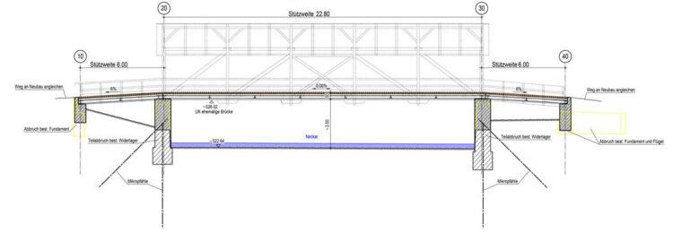 Der Längsschnitt der neuen Brücke im Entwurf. Grafik: tragwerkeplus
