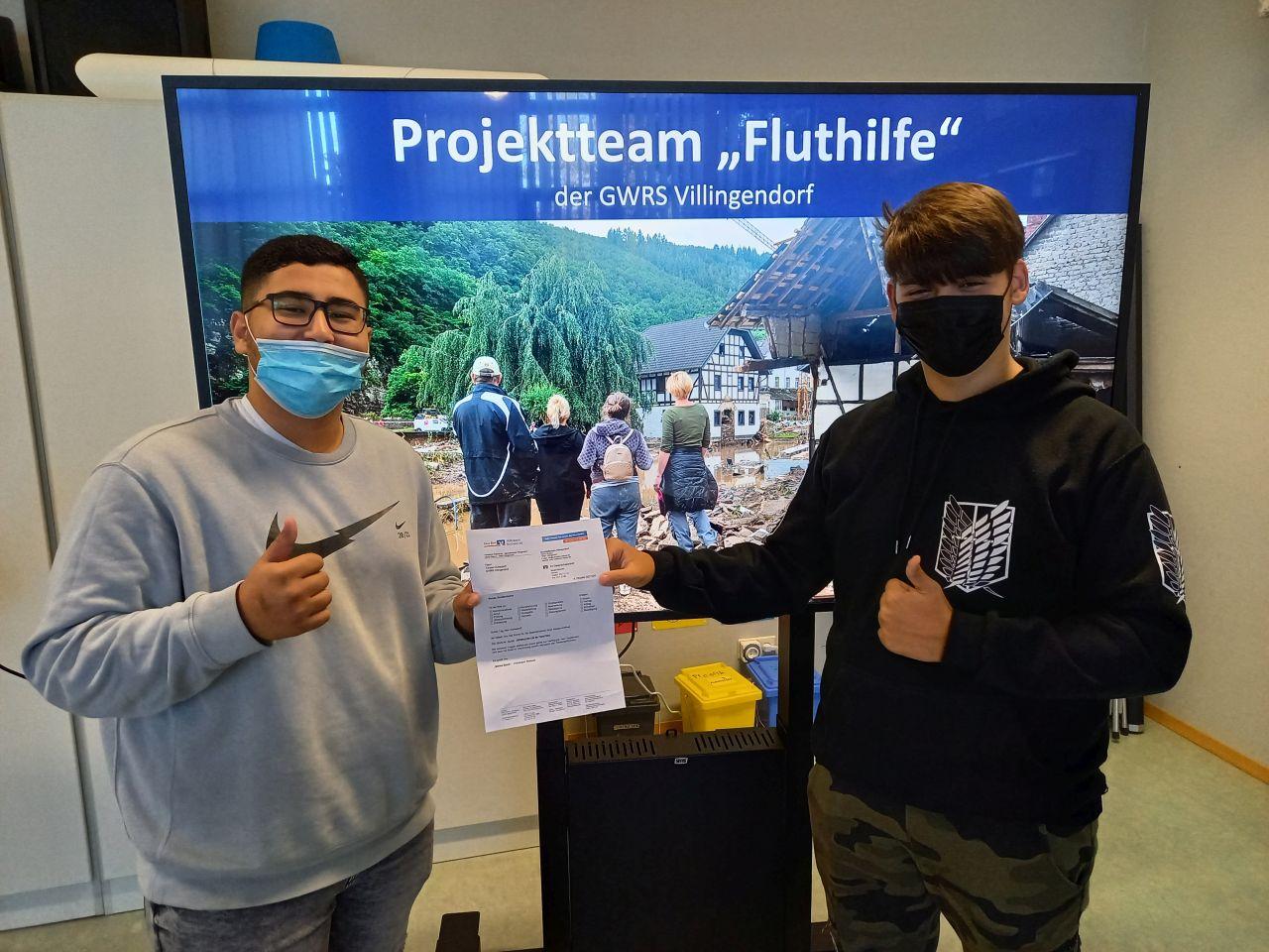 """Schüler der Abschlussklassen der GWRS Villingendorf das Projektteam """"Fluthilfe"""" ins Leben gerufen. Foto: pm"""