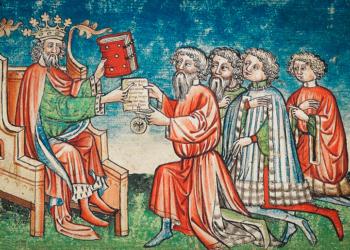Ein Glanzpunkt der Ausstellung: Darstellung der Verleihung des Hofgerichts durch Konrad III aus der um 1430 entstandenen Hofgerichtsordnung. Foto: pm
